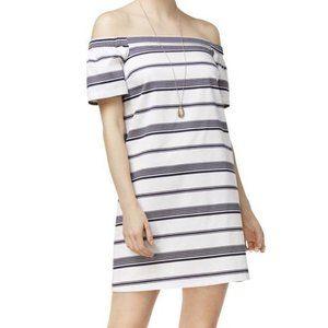 Maison Jules White Navy Off Shoulder Dress | M